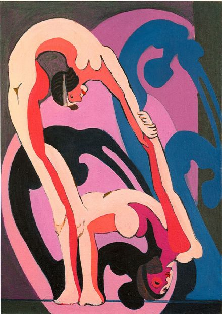 Kirchner, Ernst Ludwig: Two Acrobats. Fine Art Print/Poster. Sizes: A4/A3/A2/A1 (00498)